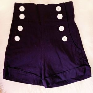 Pants - Navy Blue High Waisted Shorts Vintage Inspired S-M
